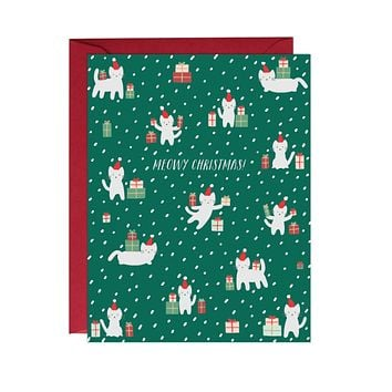Meowy Christmas Card Boxed Set of 6 Cards