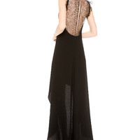 Black Cut-Out Lace Sleeveless Backless Maxi Dress