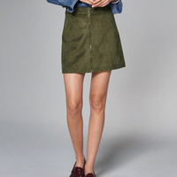 Womens Faux Suede Zip A-Line Skirt | Womens Bottoms | Abercrombie.com