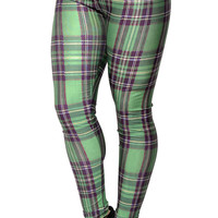 Green Plaid Leggings Design 37
