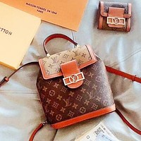 LV Two Piece Set New Daphne Set Backpack + Wallet Two Piece Large Metal Logo LV Letter Brown