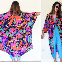 Vintage 80's silk draped batwing print duster blouse floral flower