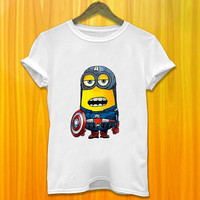 Minion in Captain America Style Tshirt Marvel Comic Minion in Captain America Tshirt Funny Tshirt Despicable Me Tshirt