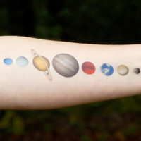 Solar System Temporary Tattoo - Planet Tattoo - Celestial Tattoo - Space Tattoo