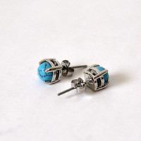 Turquoise Earrings PAIR, Hypoallergenic Stainless Steel Earring,  Post Earring, Multiple Piercing Earring, Gemstone Earring