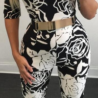 Off-Shoulder Digital Print Slim Long Jumpsuit