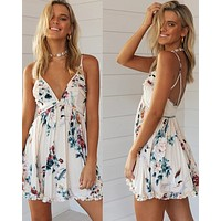 2020 new women's printed halter strap dress