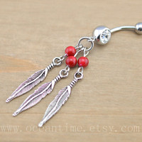 Dream catcher Belly Button Rings,Navel Jewlery, Dream catcher belly button ring,red bead, summer jewelry