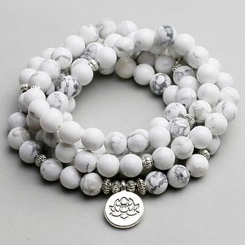 108 Natural Stone White Howlite Mala Beads with Charm