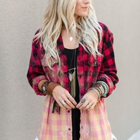 Bleached Plaid Flannel With Lace