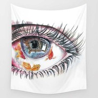 Colorful Eye Goldfish Wall Hanging Tapestry