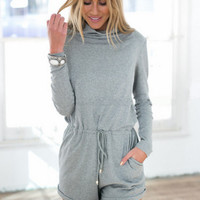 Casual High Neck Drawstring Romper With Pocket
