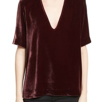 Theory Choker Collar V-Neck Velvet Top | Nordstrom