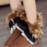 New Yellow Round Toe Flat Faux Fur Fashion Ankle Boots
