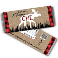 Moose Candy Bar Wrapper - Moose 1st Birthday Candy Wrappers - Moose Party - Moose Birthday Party Favors - Kraft Red Flannel - Little Moose