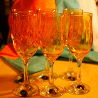 Six Lovely Vintage Italian Crystal Champagne Flutes Amber with Gold Swirl Made by Cristalleria Elli Fumo