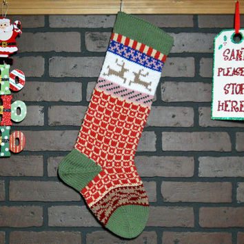 Hand Knit Christmas Stocking, Fair Isle Knit Stocking with Green Cuff, Taupe Reindeer and Claret Red Ivy, can be personalized