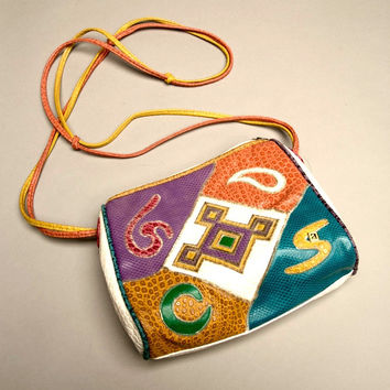 NAS Patchwork Bag Colorful White Faux Leather Vintage Handbag Cross body Accessory
