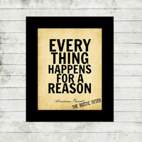 Everything Happens for a Reason Quote Print - Quote Art - Rustic - Quote - Vintage Art - Home Decor - Wedding - Typewriter - Life Quote