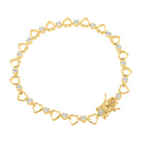 Gold Finish Heart Link Bracelet Simulated Diamonds With Solitaires