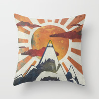 Mount Spitfire Throw Pillow by happymelvin