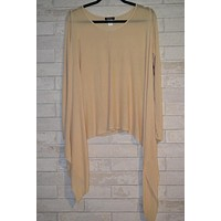 Kerisma Demi II Asymmetrical Sheer Knit Top- Beige