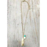 Feather Necklace with Turquoise and Pearl Accent