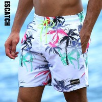 Escatch New Quick Dry Summer Mens Print Beach Board Shorts Surf Siwmwear Bermudas Swim For Men Athletic Mens Gym Shorts