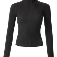 LE3NO Womens Fitted Soft Ribbed Knitted Long Sleeve Mock Neck Top