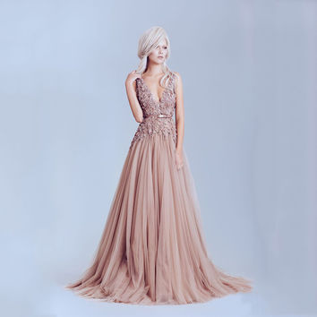 Pink Dusty Long Evening Dresses