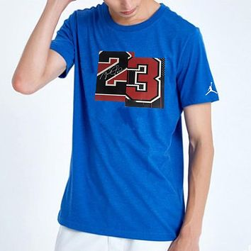 Jordan New fashion letter print couple top t-shirt Blue