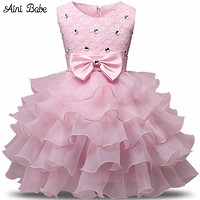 Flower Girl Dress Summer Floral Baby Girls Dresses Wedding Party Children Clothes