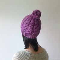 Hand Knitted Cable Hat in Dark Lilac, Chunky Beanie with Pom Pom, Hat for Women, Seamless, Wool Blend, Winter Accessories, Made to Order