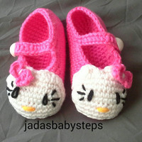 Hello Kitty - Crochet Baby Slippers 6-12 Months (Pink)