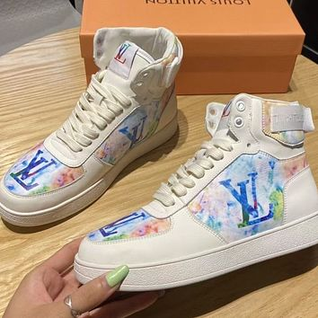 LV High sports board shoes women's small white shoes