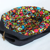 Kids Denim and Colorful Circle Print Toy Bag Brown Orange Green Blue Extra-Large Bag Home School Travel Laundry Tote -- US Shipping Included