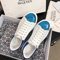 Alexander McQueen classic quicksand ladies white shoes fashion personality sneakers shoes 1
