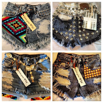 High waisted denim shorts Studded super frayed with US flag and studs all sizes.