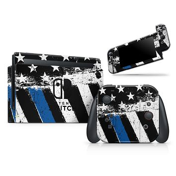 Grunge Patriotic American Flag with Thin Blue Line 2 - Skin Wrap Decal for Nintendo Switch Lite Console & Dock - 3DS XL - 2DS - Pro - DSi - Wii - Joy-Con Gaming Controller