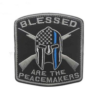 embroidered Blessed are the Peacemakers  Patch Thin Blue Line Spartan Patch Morale military patches  usa army  tactical for vest