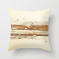 Throw Pillow Cover Nautical Art Photo Indoor Outdoor Covers photography tan Brown nature landscape neutral earth tones Seagulls birds water