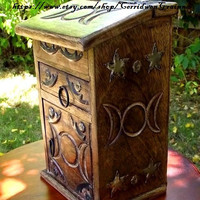 Triple Moon Goddess, Witches Cupboard, Alchemy Chest, Herb Cupboard, Witches Apothecary, Altar Box, Magick, Witchcraft, Mystical, Wicca