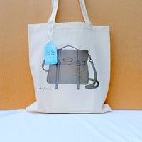 Canvas Tote bag shopper mulberry illustrated handbag by Floralchic