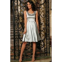 Silver Grey Charmeuse Sleeveless Prom Party Skater Midi Dress - Women
