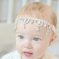 Baby Headband Beaded Headband Rhinestone Headband Crystal Headband Baby Girl Headband Flower Girl Headband Jewelled Headband