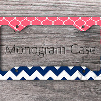 Customized License Plate Frame - Pink Coral Moroccan pattern and Navy blue chevron personalized car tag, monogrammed gift -169