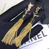YSL Fashion New Letter Tassel Long Earring Accessories Women Golden