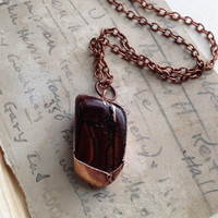 Tiger Eye Necklace - Stone Necklace - Brown Cats Eye Stone