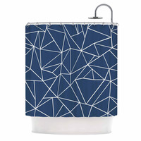 """Project M """"Abstraction Outline Navy"""" Blue Abstract Shower Curtain"""