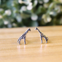 Tiny Giraffe stud earrings, Sterling Silver Giraffe Ear Studs, Giraffe Silver earrings, Everyday jewelry, Animal Studs Earring Gift